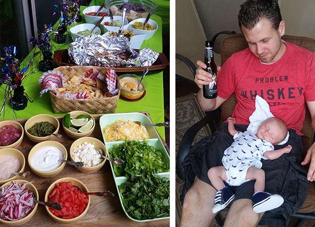 Eating with a Newborn Patio Taco Bar