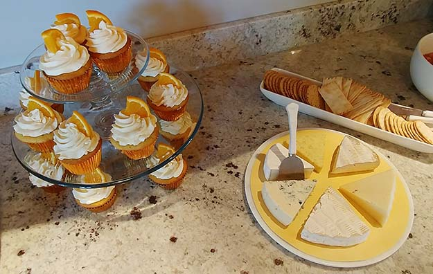 One in a Melon First Birthday Party Creamsicle Cupcakes and Cheese Platter that Looks Like a Lemon Slice