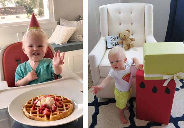 One in a Melon First Birthday Party No Sugar Birthday Waffle and Gifts that Look Like Watermelon