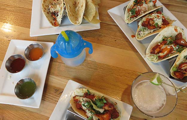 Taqueria 27 Buffale Chicken Tacos (Small & Large), Kid's Chicken Tacos, and hot sauces