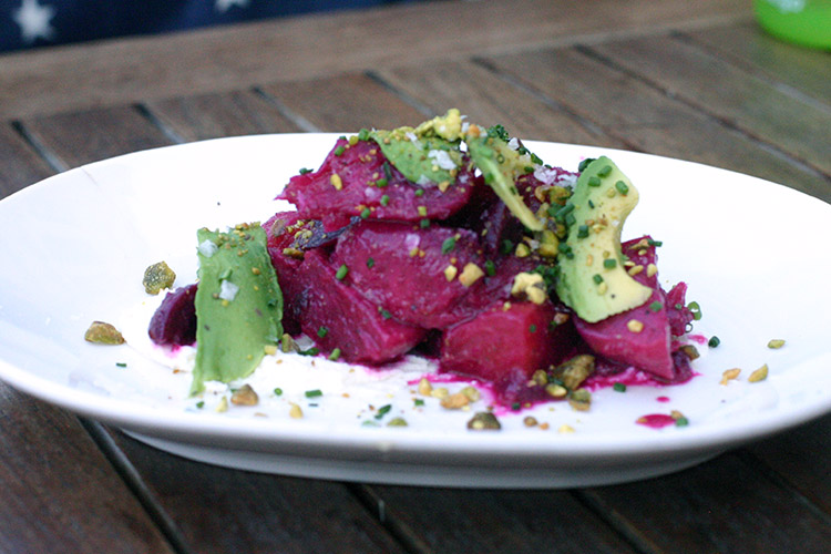 Copper Kitchen Happy Hour Beet and Avocado Salad