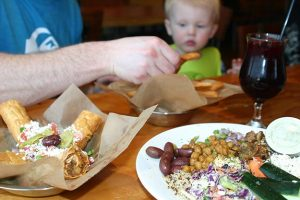 Spitz Garden Bowl, Doquitos, Hummus and Pita Chips, Red Sangria