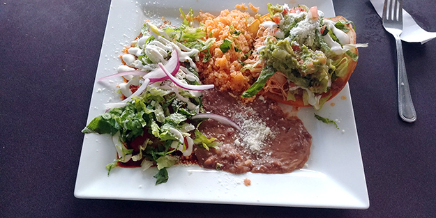 Chile Tepin Combo Plate with Tostada and Enchilada